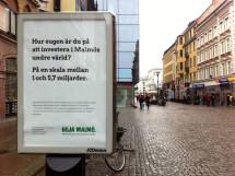 Bild på utomhuskampanj för Heja Malmö på gågatan i Malmö