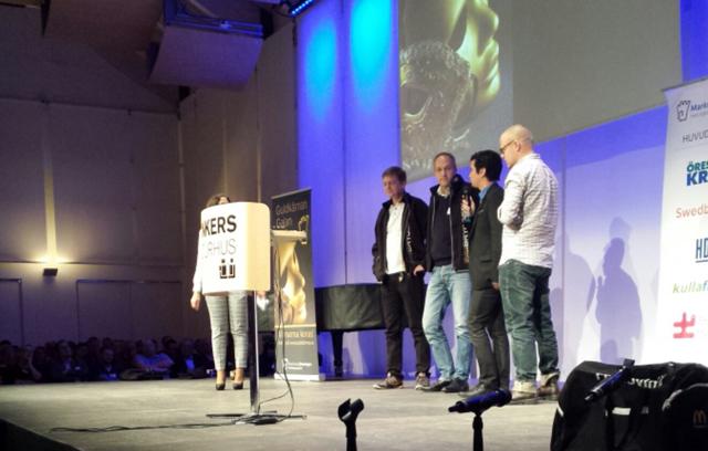 De nominerade till Årets marknadsförare av Marknadsföreningen i Helsingborg. På scen på Dunkers kulturhus, MiH.
