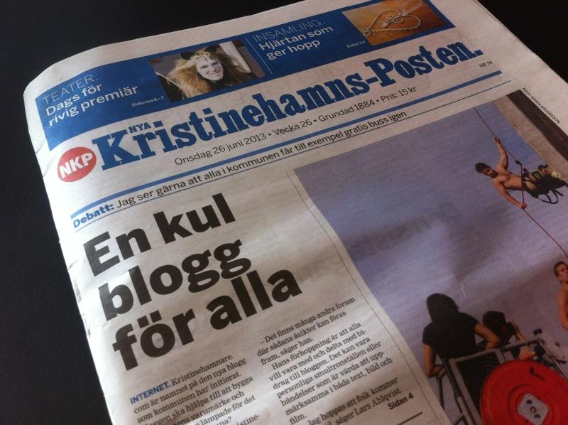 Kristinehamns-Posten skriver om bloggen kristinehamnare.com