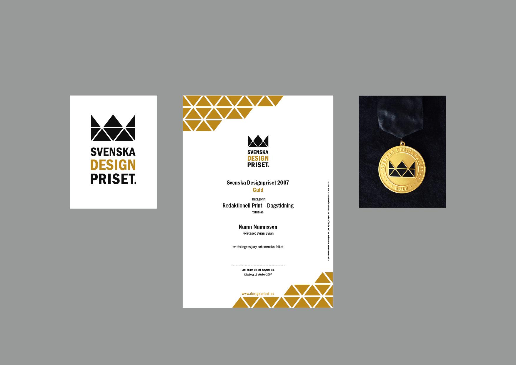 Bild på logotyp, diplom och guldmedalj för Svenska Designpriset